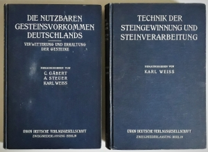 Handbuch der Steinindustrie. Erster Band: Die nutzbaren Gesteinsvorkommen Deutschlands. Zweiter Band: Technik der Steingewinnung und Steinverarbeitung.